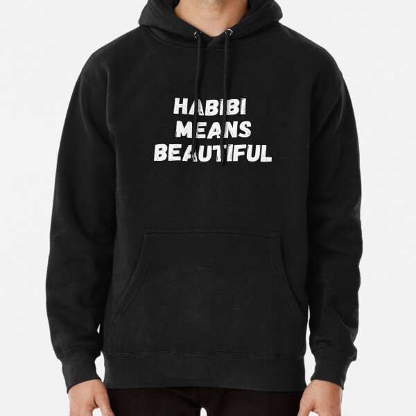 Habibi Means Beautiful - Quackity Beanie - Bold White  Pullover Hoodie RB2905 product Offical Quackity Merch